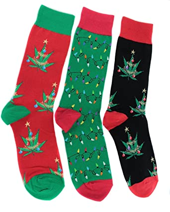 Socksmith Mens Light Up For Christmas Socks 3 Pr Pot Leaves