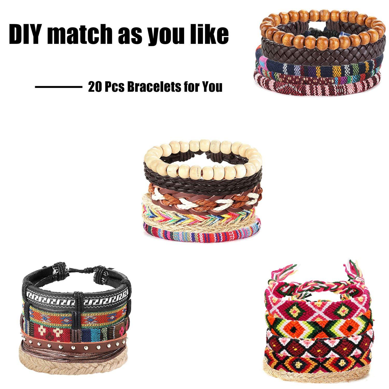 YADOCA 20 Pcs en Cuir Tress/é Bracelet Ensemble pour Hommes Femmes Perles en Bois Bracelets Tribal Ethnique Boho Cordons Wrap Bracelets Cha/îne Bijoux /À La Main