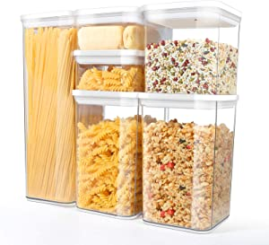TBMax Airtight Food Storage Containers 6 Pieces - Pantry Organization and Storage Container Set with Lids for Cereal, Pasta, Spaghetti, Flour, Sugar