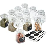 VonShef Set of 12 Mini Clip Top Glass Storage Preserving Jars - with 24 Reusable Stickers & 1 anti-dust Chalk