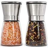 Home EC - Juego de molinillos de sal y pimienta de acero inoxidable rellenables – cortos, de vidrio, con grosor del grano aju