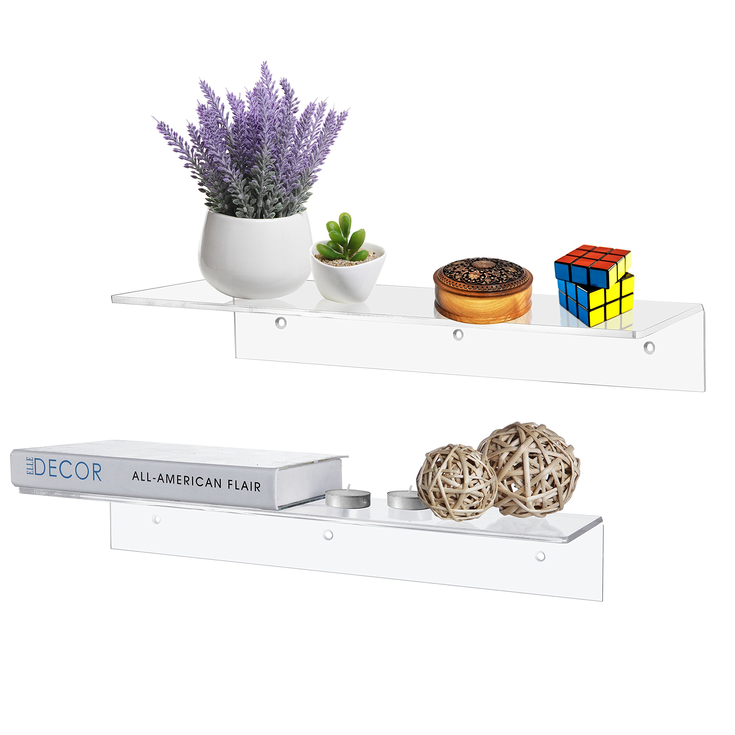 MyGift 17 Inch Contemporary Clear Acrylic Floating Shelf/Wall Mounted Display Organizer, Set of 2