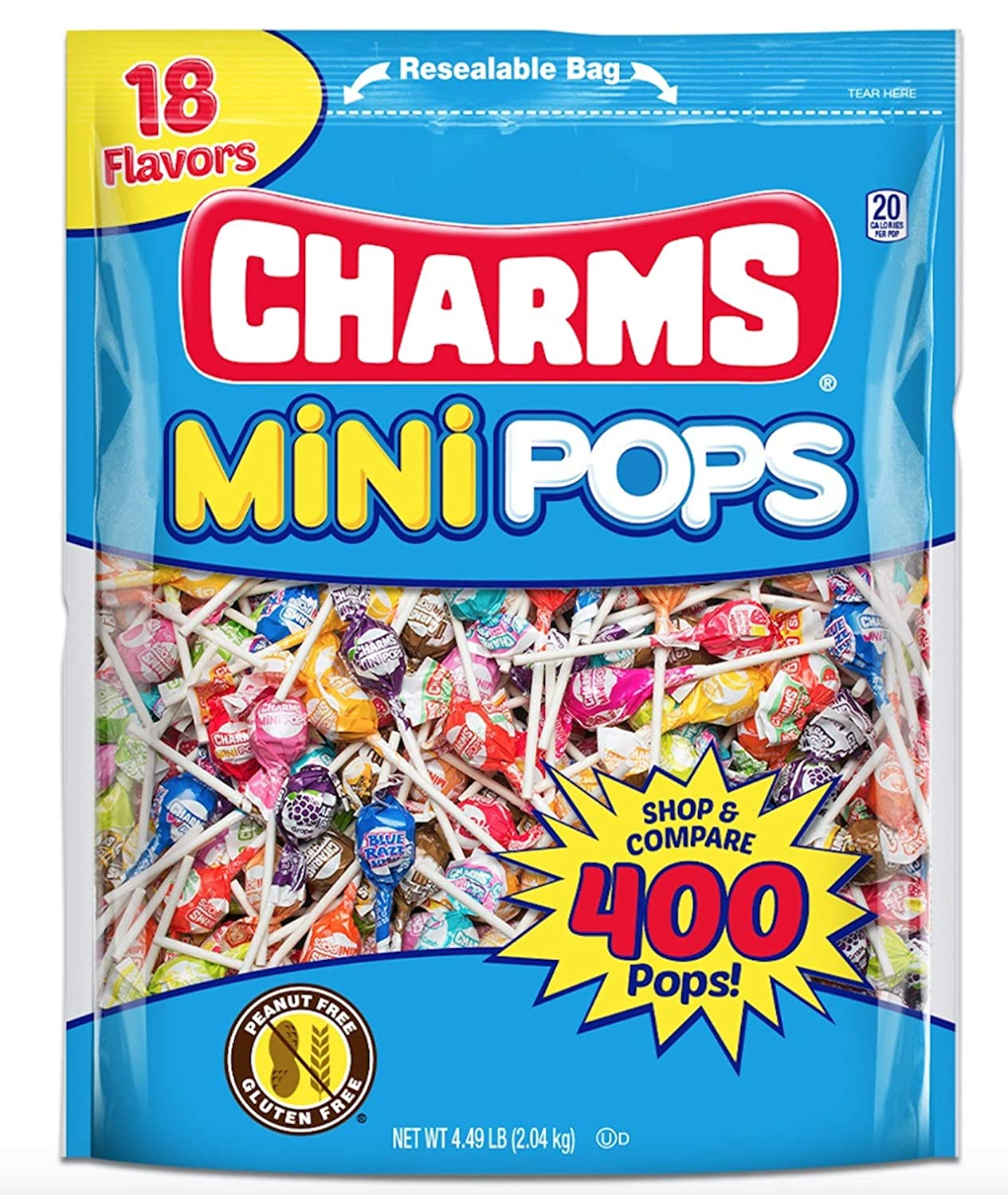 Tootsie Roll Charms Mini Pops 18 Assorted Lollipop Flavors with Resealable Bag (400 Count) Peanut Free, Gluten Free