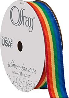 """product image for Offray 435991 1.5"""" Wide Grosgrain Ribbon, Rainbow Stripe, 3 Yards"""