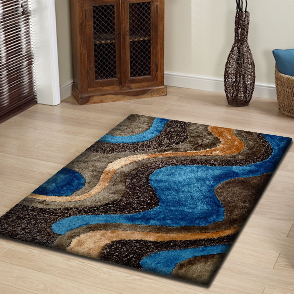 Amazon com beautiful hand made brown blue shag area rug exact size 76 x 103 ft kitchen dining