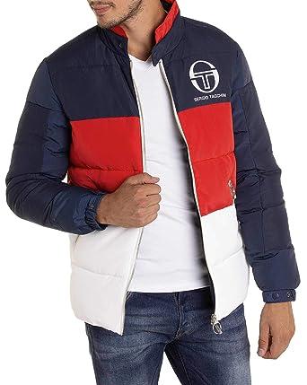 bb964e2100e5 Sergio Tacchini - Doudoune Color Block Bleu Rouge Blanc de Marque Sport  Retro stylé - Couleur
