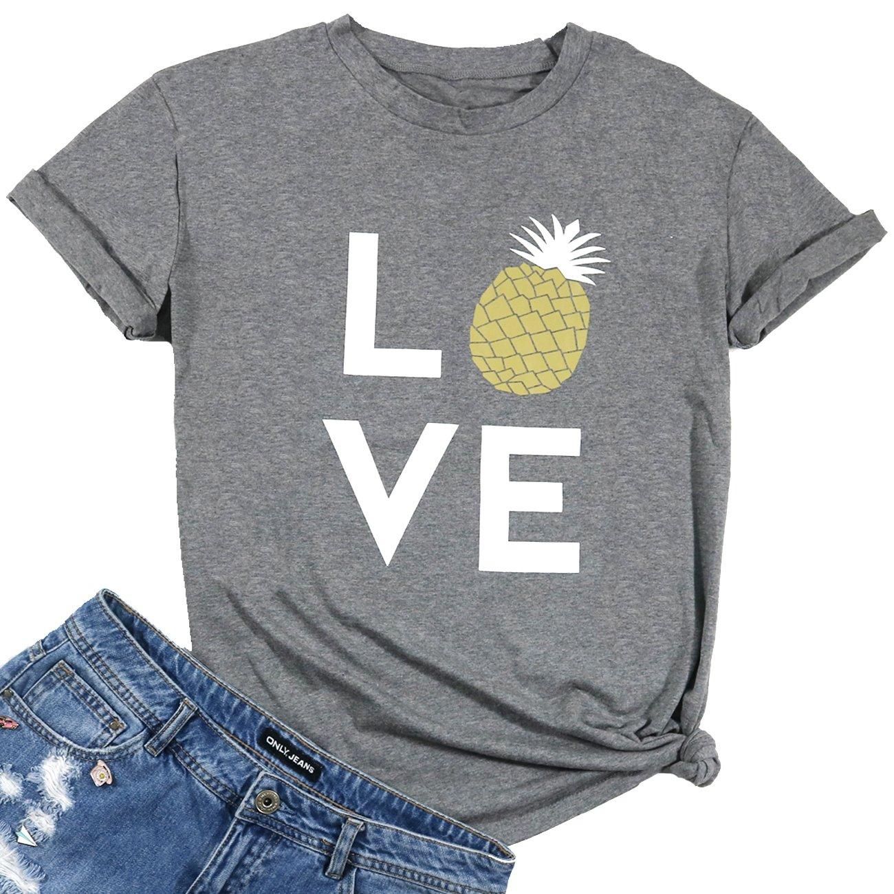d3d0c68b6 Amazon.com: Women Love Pineapple Letters Print Funny T-Shirt Casual Short  Sleeve Blouse Tees: Clothing
