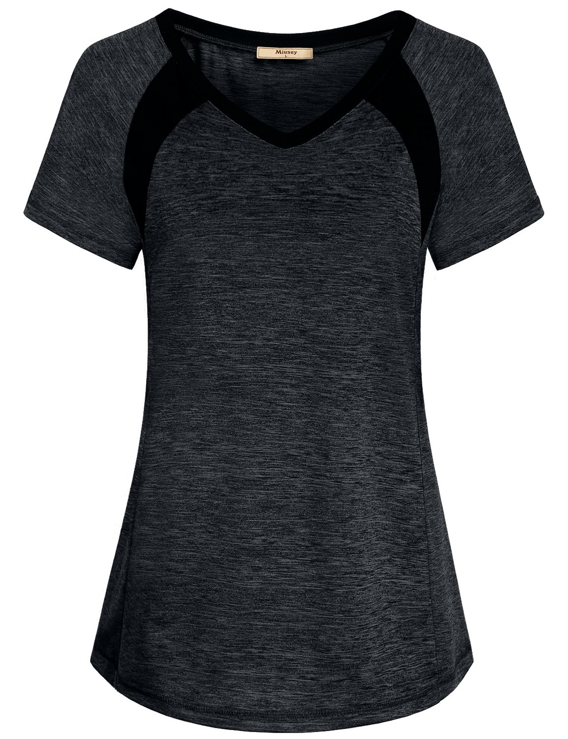 Miusey Sports Shirts for Women, Ladies Gym Workout Short Sleeve V Neck Tee Activewear Raglan Top Jr Clothes Color Block Plain Outwear Classic Heathered Black M