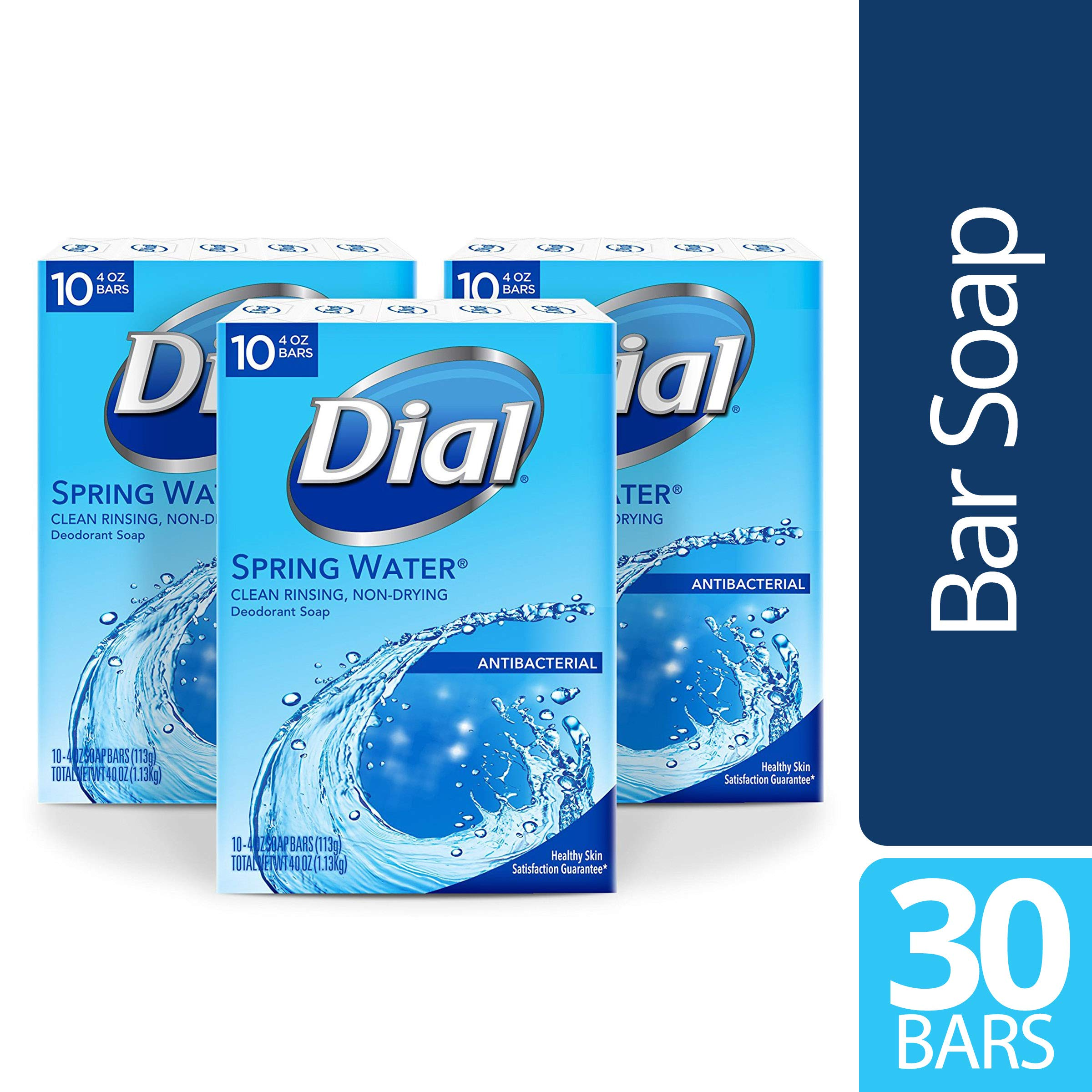 Dial Antibacterial Bar Soap, Spring Water, 30 Count by Dial