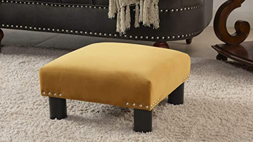 Jennifer Taylor Home Jules Square Accent Footstool Ottoman, Gold