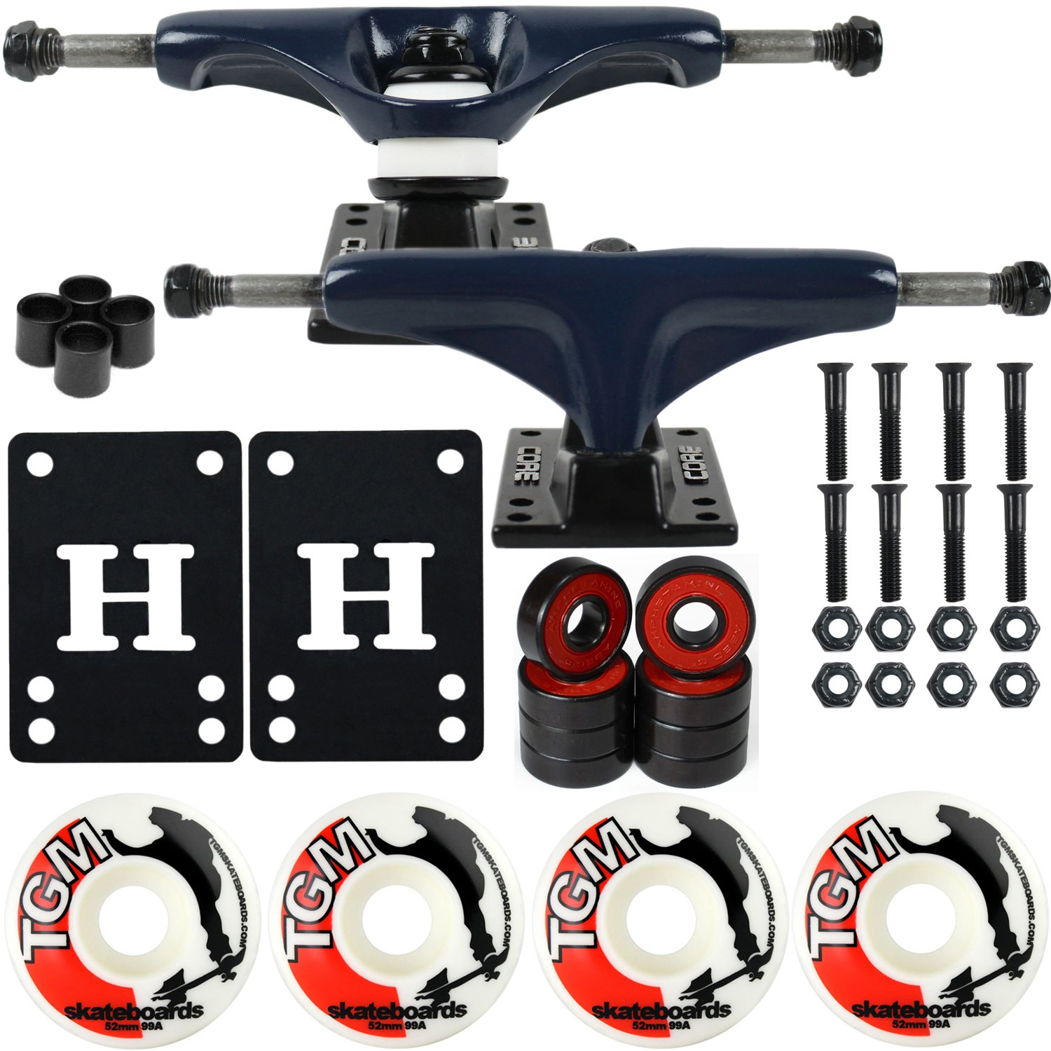 CORE Skateboard Package 5.0'' Trucks 52mm with White Wheels + Components (Navy Hanger/Black Base) by CORE