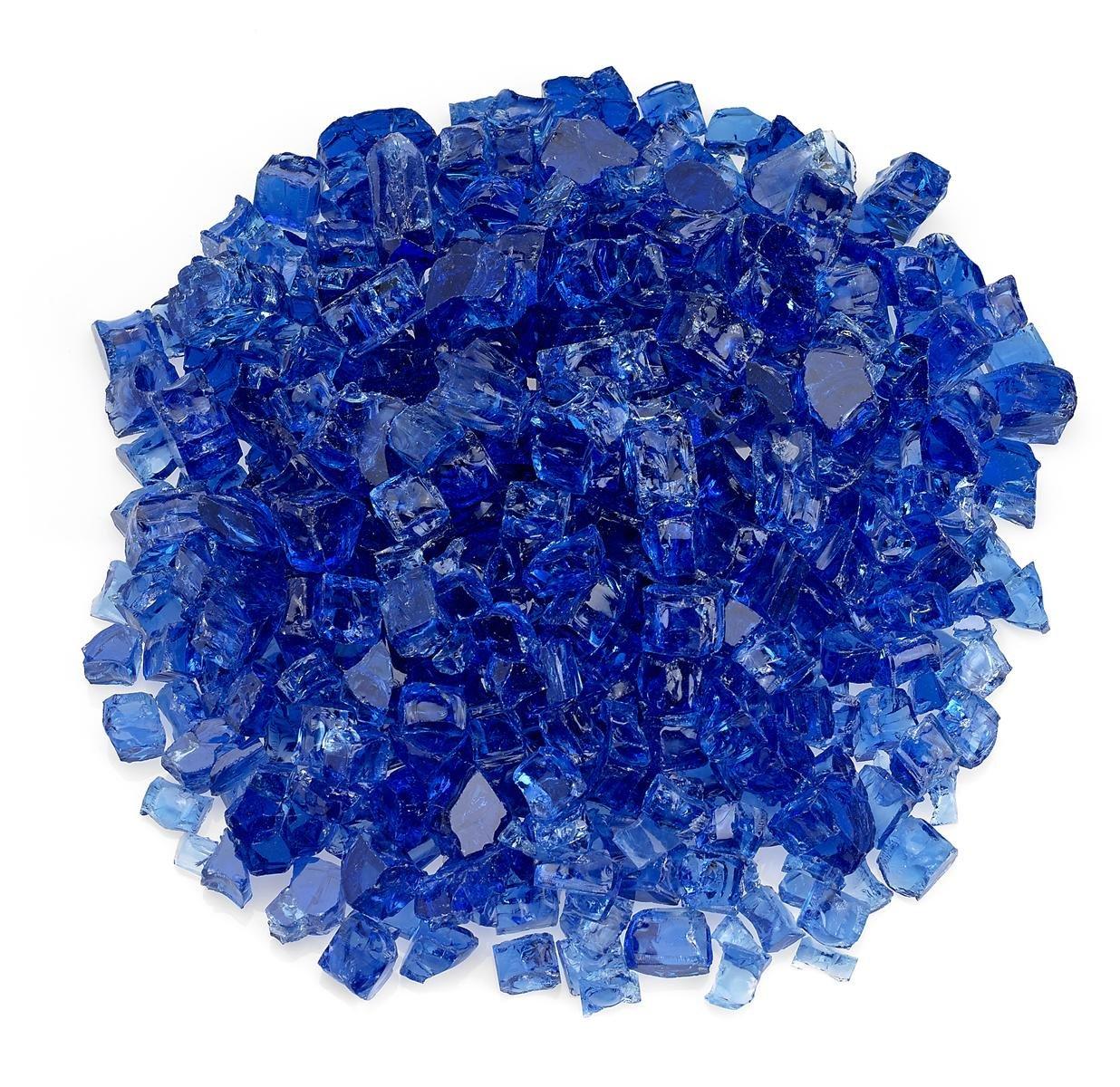 American Fireglass 1/2'' Cobalt Blue Fire Glass, 55 lb. Bag