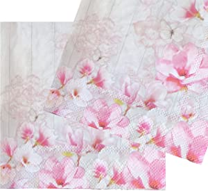 20-ct 13x13 Pink Magnolia Napkins Floral Napkins Decoupage Paper Napkins Decorative Paper Napkins for Decoupage Floral Paper Napkins Pretty Spring Paper Napkins for Birthday Tea Party Mother's Day