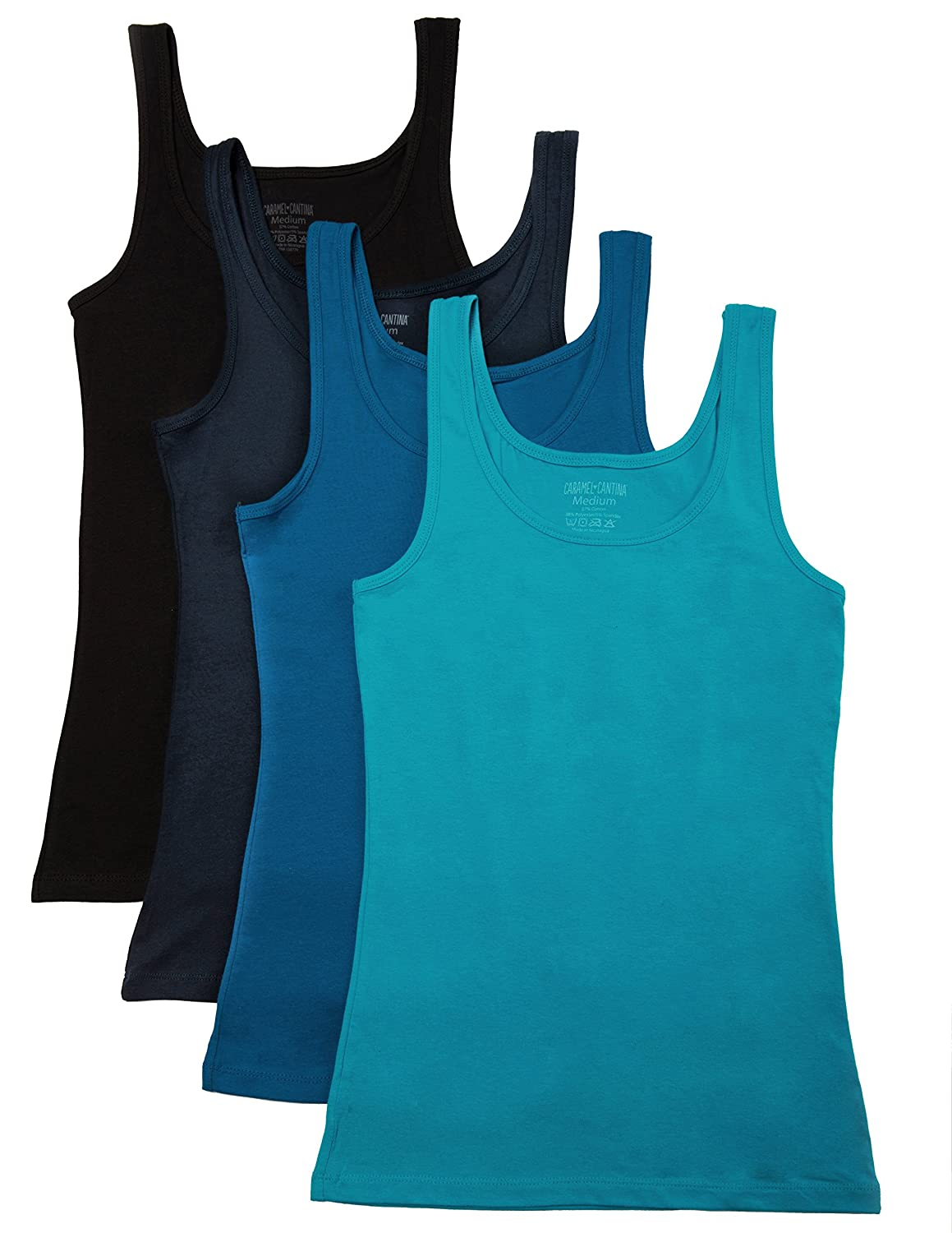 b03f22875a Tumble dry low. Do not iron. Do not bleach. 4 Pack Tank Tops for Layering  Juniors or Teens Sizes; Ladies Order 1-2 Sizes Larger Than Normal