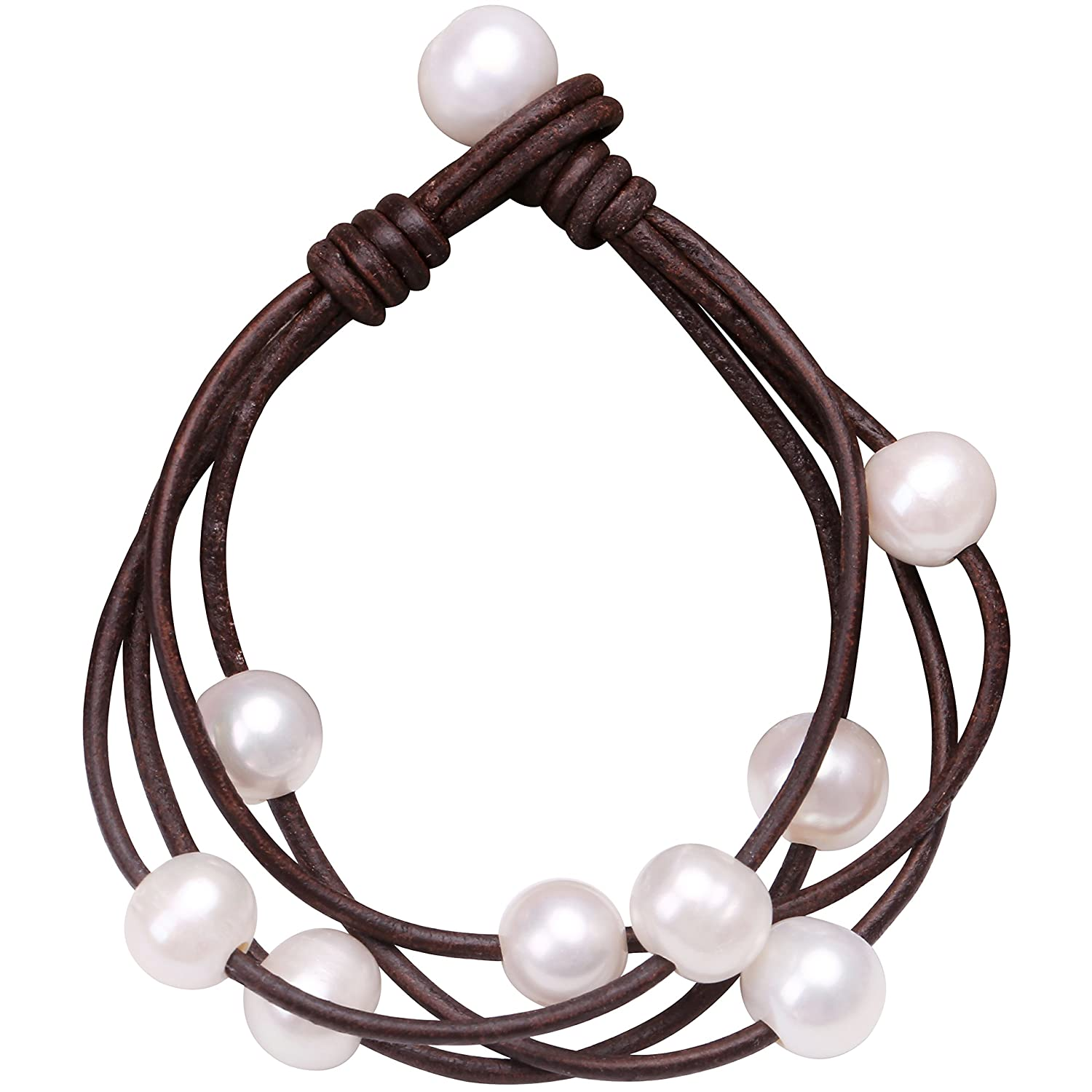 Cultured Freshwater Pearl Wrap Bracelet on Multi Strands Leather Beaded Jewelry for Women by Aobei