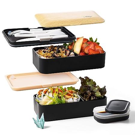 Atthys Fiambrera Bento Bambú Blanco | Bento Japonés Design 3 ...