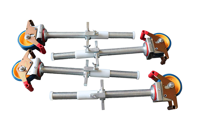 passend zu verschiedenen Herstellern Ger/üstrollen 125 mm mit Stahlspindel doppelt gebremst lotrecht stehend Set mit 4 St/ück