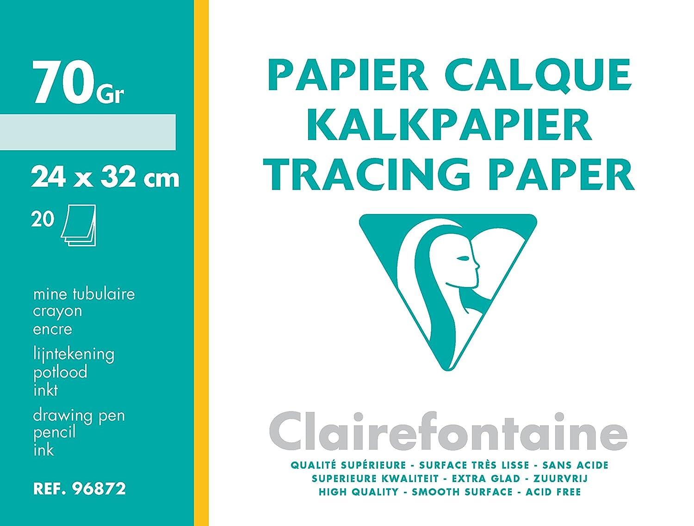 Clairefontaine 96872C Papier Calque pochette 20F 24x32cm 70/75g C Rhodia Jardinage