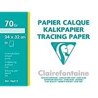 Clairefontaine 96872C Papier Calque pochette 20F 24x32cm 70/75g