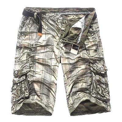50ecc9401d Abetteric Men's Loose Casual-pants Athletic Cargo Shorts without Belt