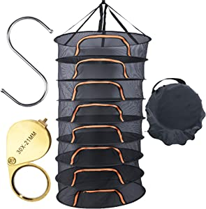 QOZY 8 Layer Herb Drying Net Rack, Hanging Drying Mesh Net, Drying Tent Dryer with Zipper Hook Herb Stripper, for Hydroponics Herb Plant Bud Flower Vegetable Spices Food Meat Fruits Tea