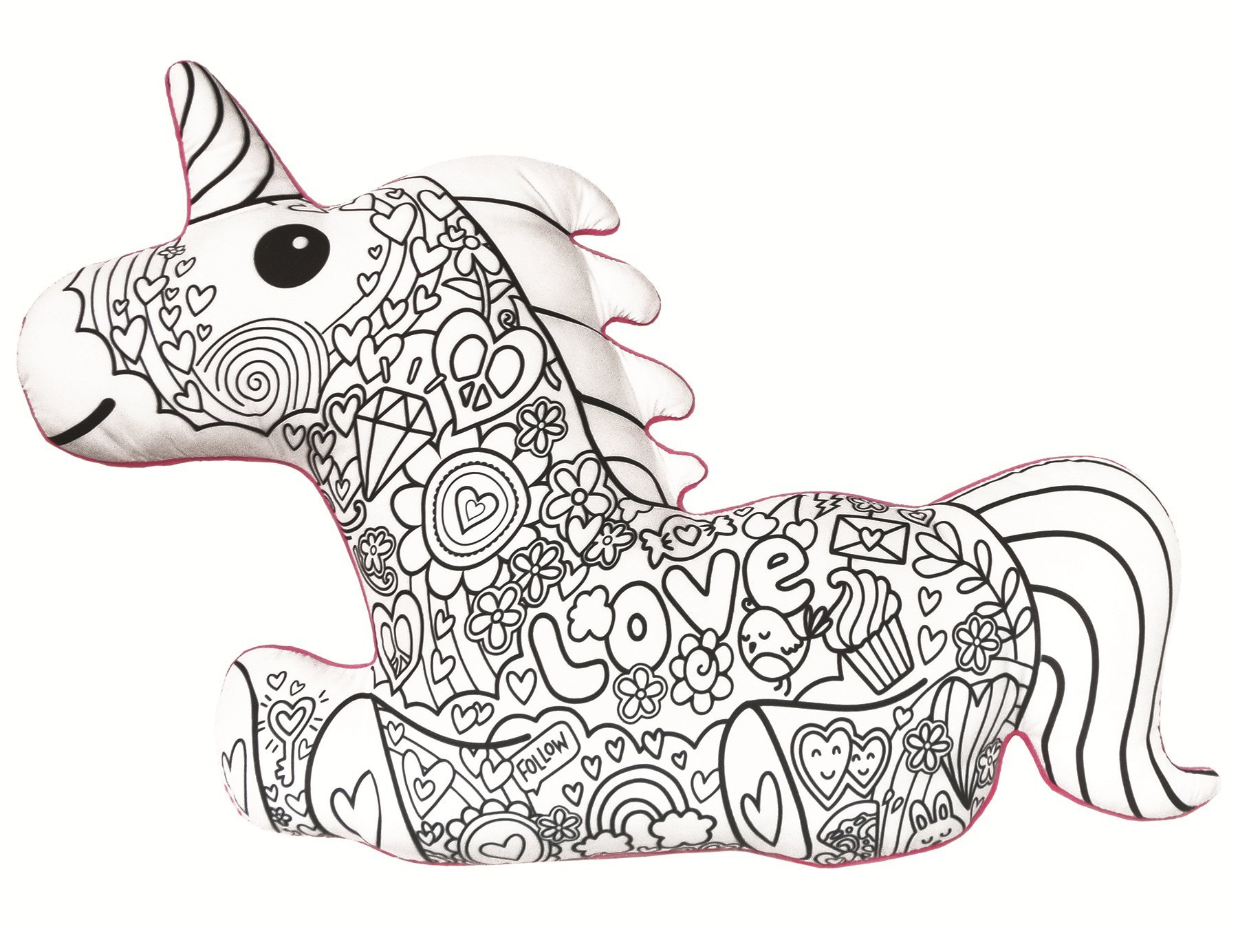iscream Color Me! Unicorn Shaped 25.5'' x 17.5'' Coloring Pillow 6 Fabric Markers in Pocket