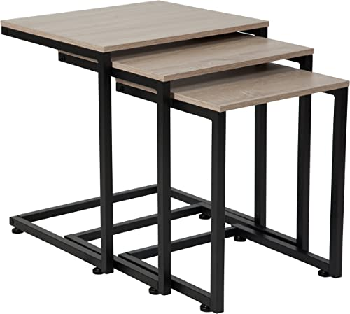 Flash Furniture Midtown Collection Sonoma Oak Wood Grain Finish Nesting Tables with Black Metal Cantilever Base