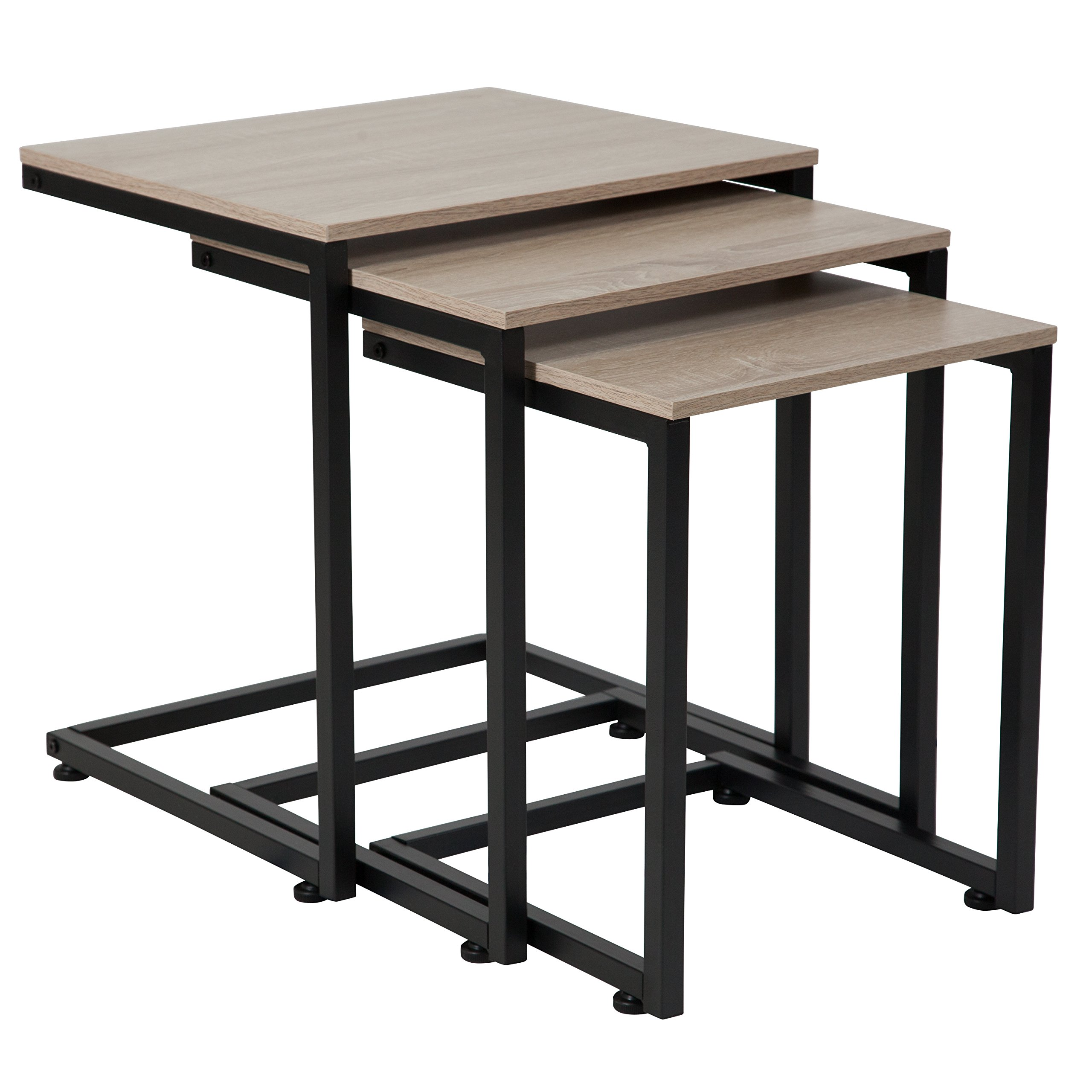 Flash Furniture Midtown Collection Sonoma Oak Wood Grain Finish Nesting Tables with Black Metal Cantilever Base by Flash Furniture