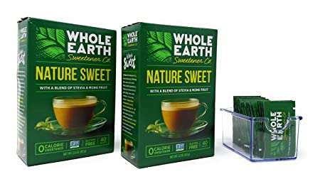 Whole Earth Sweetener Company Nature Sweet Stevia & Monk Fruit, 40 Count Boxes (Pack Of 2 Boxes) With Packet Caddy by Whole Earth Sweetener Company