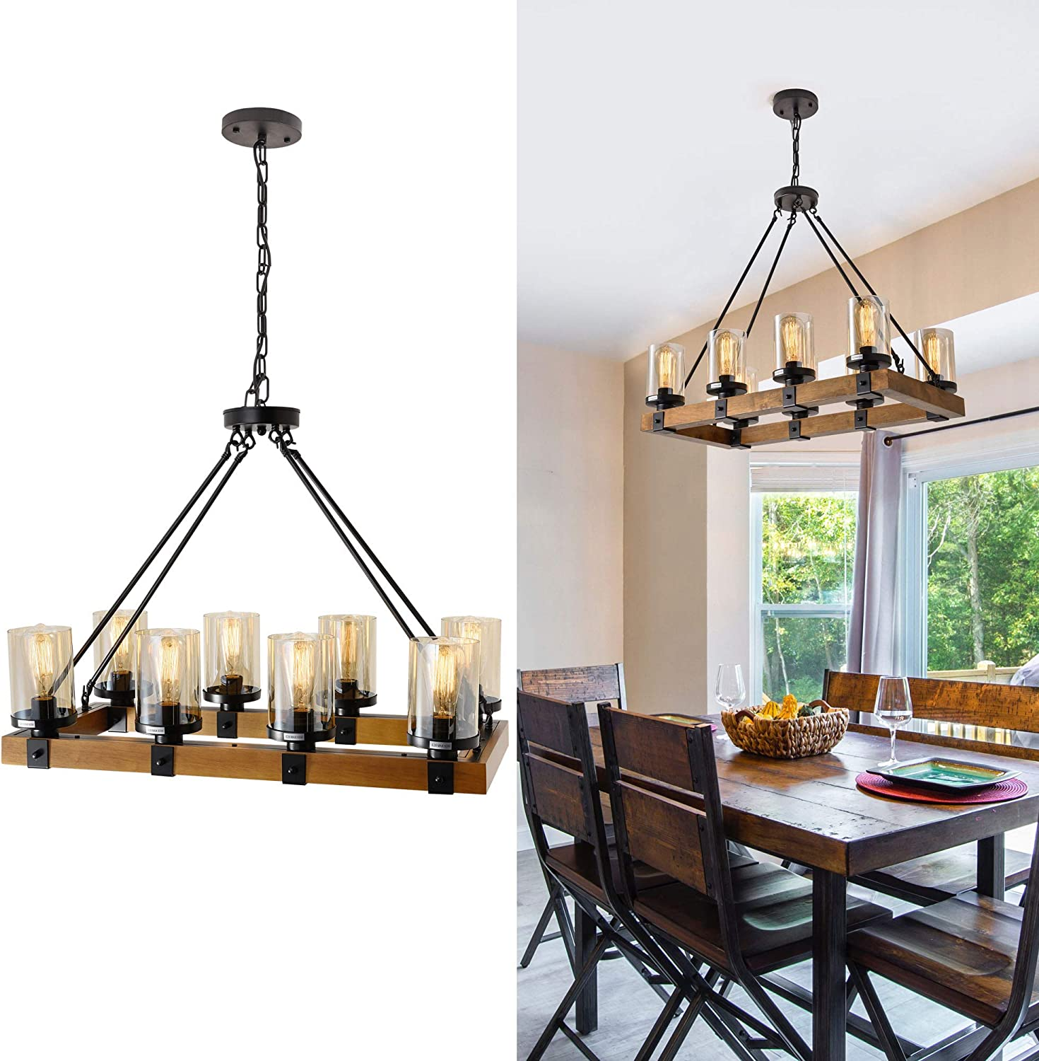 Amazon.com: Farmhouse Chandelier For Dining Room, Rustic Pendant Light Fixtures Ceiling Hanging Lighting With Glass Accent, Kitchen Island Lighting, Wood Chandelier 8-Light Max 480W (Black, 8-Light Wood): Home Improvement