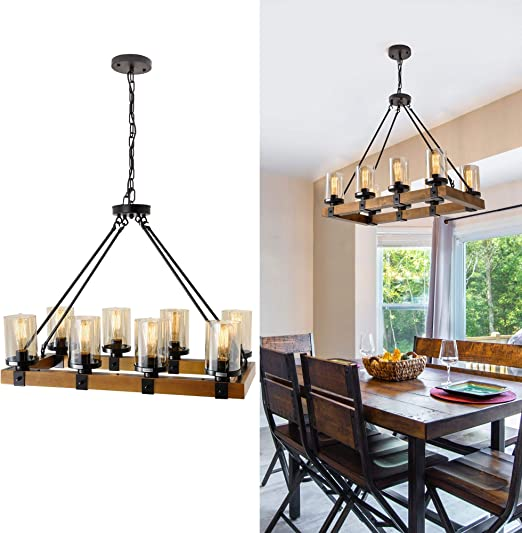 Farmhouse Chandelier For Dining Room Rustic Pendant Light Fixtures Ceiling Hanging Lighting With Glass Accent Kitchen Island Lighting Wood Chandelier 8 Light Max 480w Black 8 Light Wood Chandeliers Amazon Canada