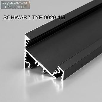 5× Profil Aluprofil Alu Schiene Leiste Profile LED-Streifen Aluprofil Schwarz 1m