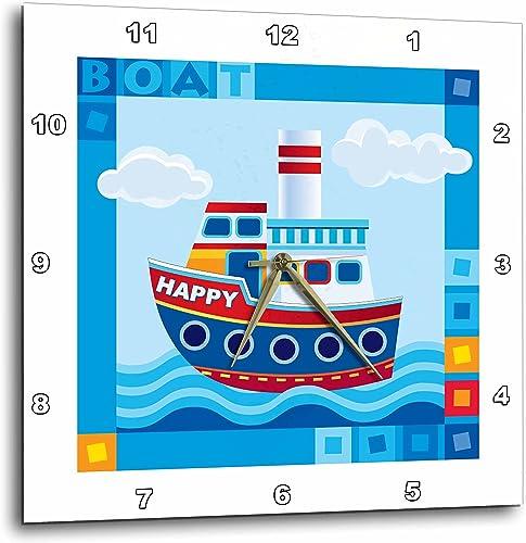 3dRose DPP_200547_2 Boat, Happy Boat, Cute Kids Boat Wall Clock, 13 by 13