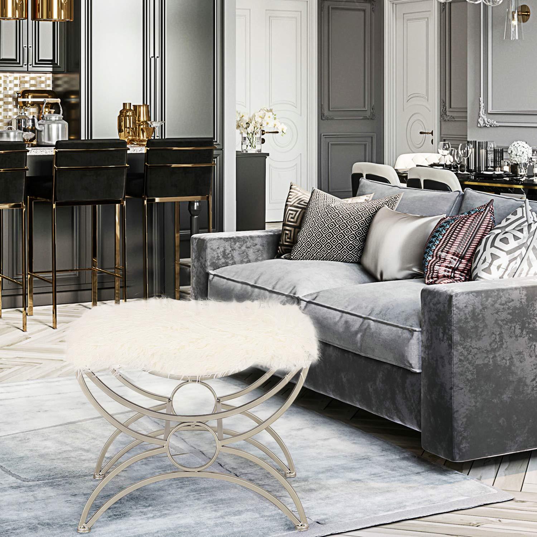 ELEGAN Luxury Modern Metal Fabric Bench Entryway Ottoman Footrest Stool White