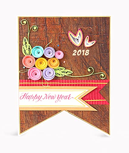 Handcrafted Emotions Handmade New Year Greeting Card Amazonin