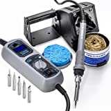 X-Tronic Model #3040-XR3 - 75 Watt Soldering Station - LED Temp Display, C/F Programmable Switch, 10 Minute Sleep Function, Iron Holder with Brass Tip Cleaner, Cleaning Flux Plus 6 Asst Soldering Tips