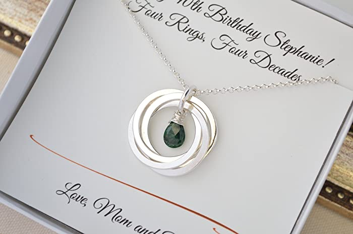 40th Birthday Gift For Women Wife Emerald Birthstone Necklace