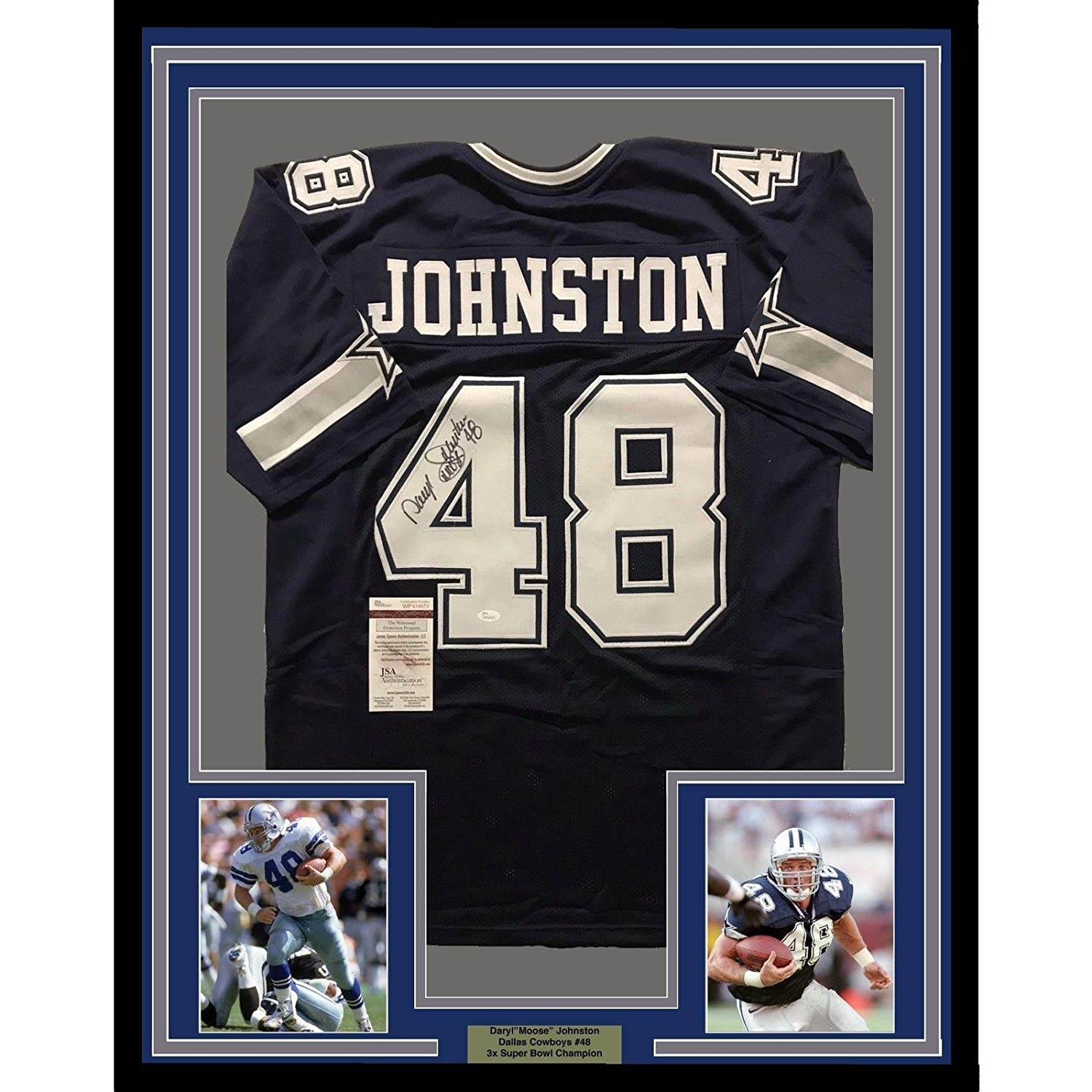 c019e4b9c Amazon.com: Daryl Johnston Autographed Jersey - FRAMED MOOSE 33x42 Blue COA  - JSA Certified - Autographed NFL Jerseys: Sports Collectibles