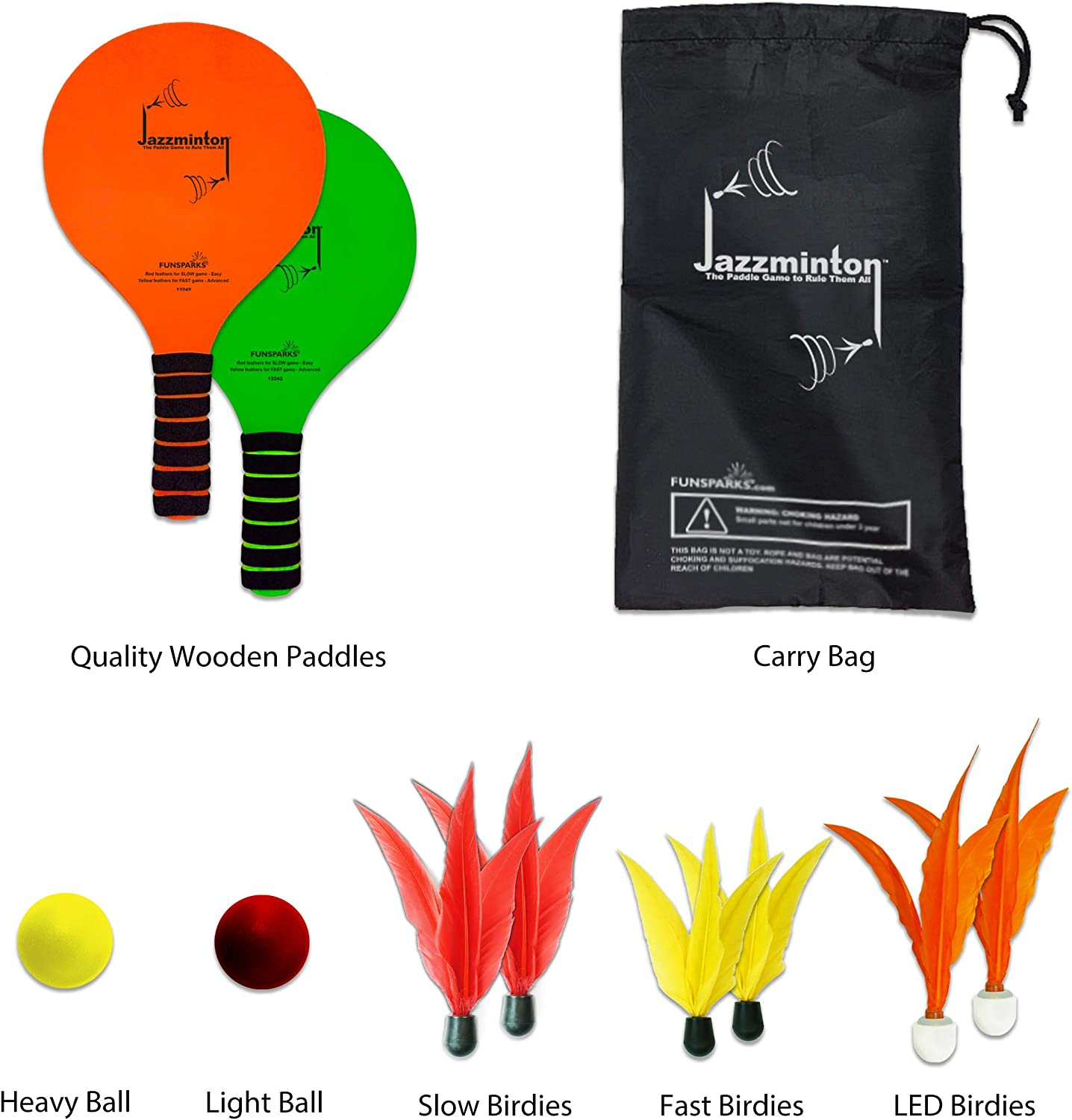 Indoor//Outdoor Game for Kids Teens and Adults Funsparks Jazzminton Deluxe LED 3 in 1 Paddle Ball Game