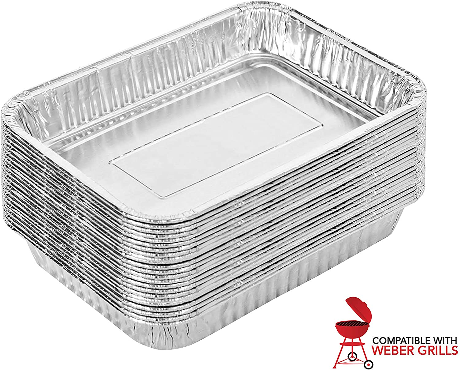 Stock Your Home Aluminum Drip Pan (25 Count) - Drip Pan Liners - Aluminum Drip Pans Compatible with Weber Grills - Disposable Drip Pan - Grill Grease Tray - BBQ Grease Pans - Disposable Oil Drip Pan