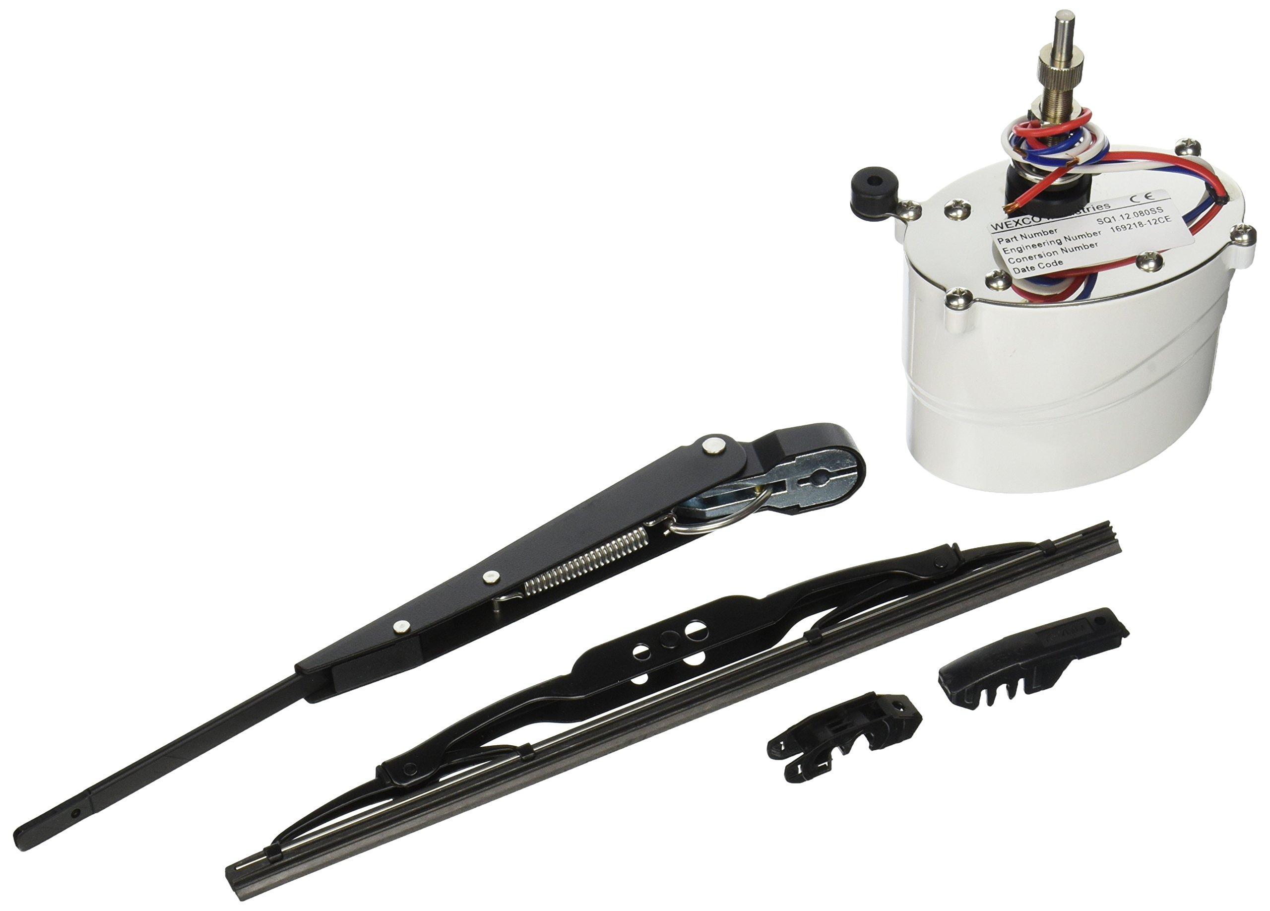 Wexco SQ112110SSK 1.5'' Shaft Marine Windshield Wiper Kit, 12V, 80-Degree Sweep
