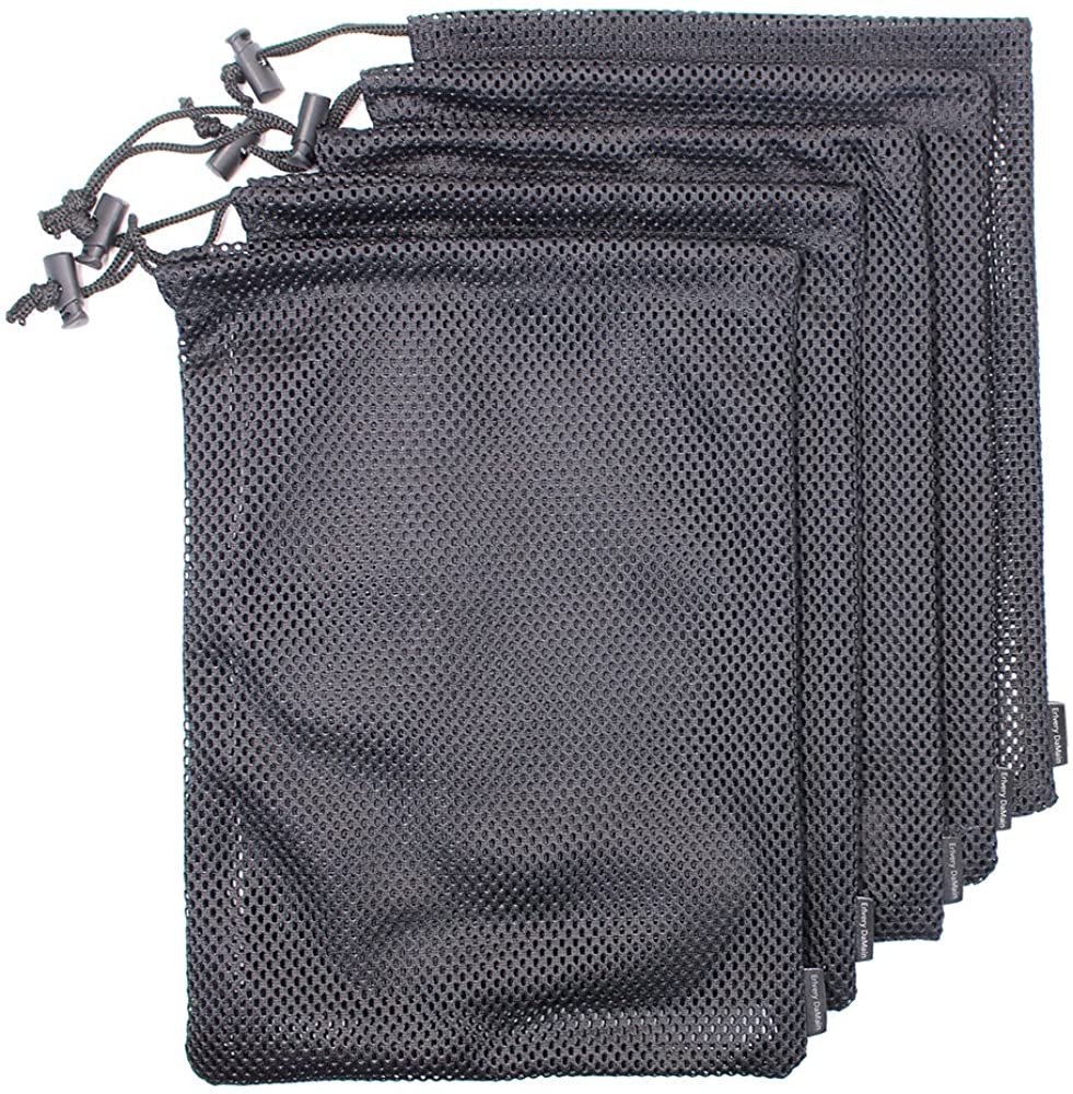 Erlvery DaMain 5 PCS Multi Purpose Nylon Mesh Drawstring Storage Ditty Bags for Travel & Outdoor Activity