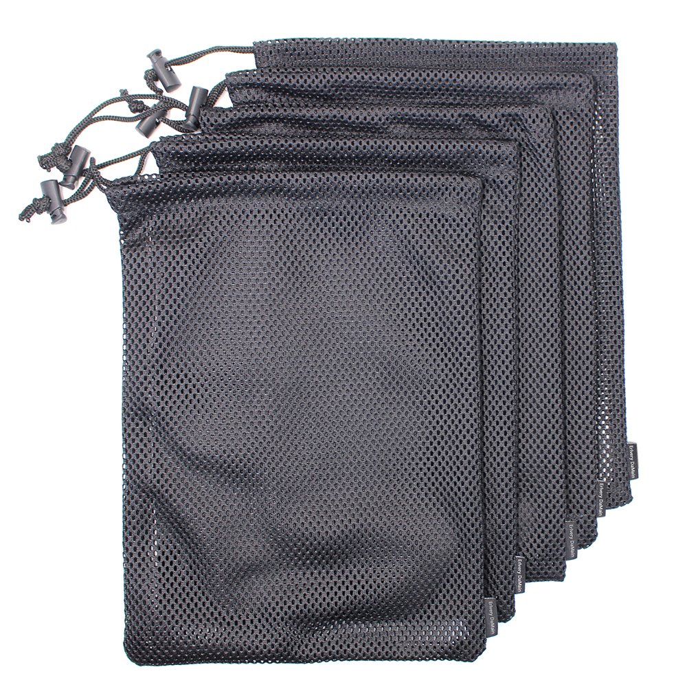 5 PCS Multi Purpose Nylon Mesh Drawstring Storage Ditty Bags for Travel & Outdoor Activity by Erlvery DaMain