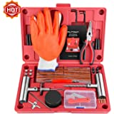 AUTOWN Tire Repair Kit - Heavy Duty Tire Repair Tools & Tire Repair Set for Car, Motorcycle, Truck, ATV, Tractor, RV, SUV, Jeep, Trailer, Lawn Mower - 100% Life Time Guarantee 75pcs