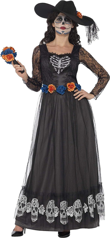 Smiffys Disfraz de Esqueleto de Novia del día de Muertos, Negro, con Vestido, Sombrero y