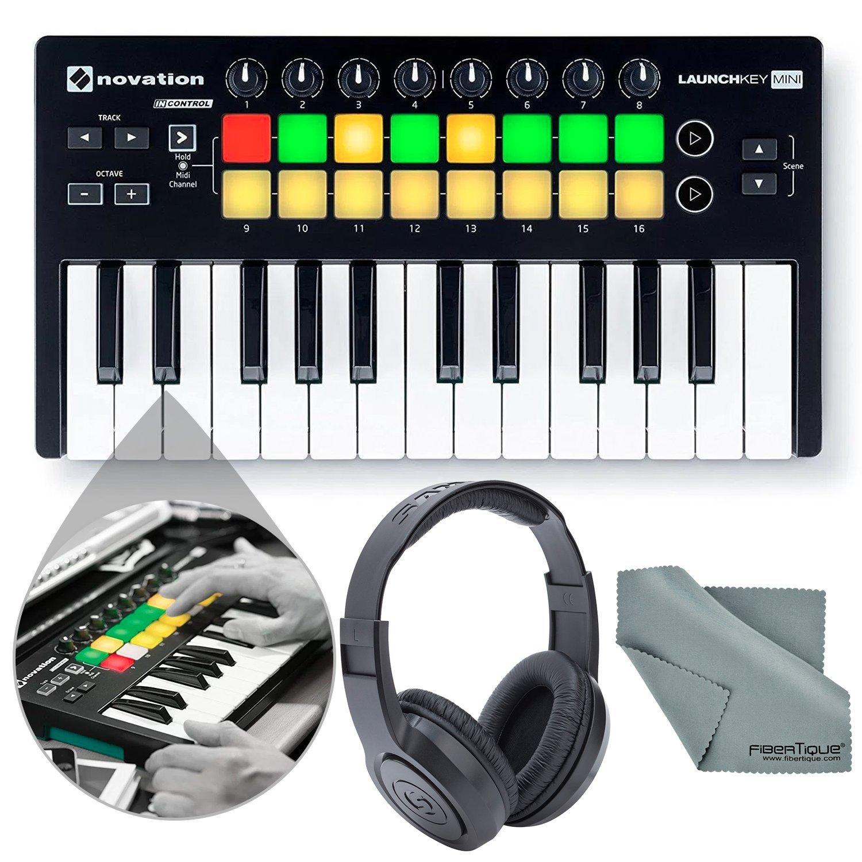 Novation Launchkey Mini MK2 25-Key USB MIDI Controller and Accessory Bundle with Headphones + Fibertique Cloth by Photo Savings