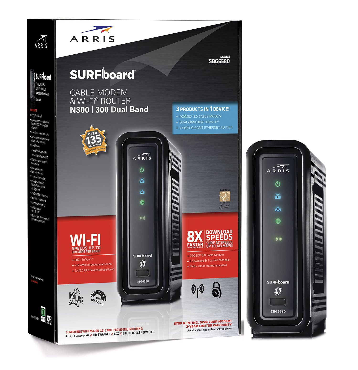 ARRIS SURFboard SBG6580-2 8x4 DOCSIS 3.0 Cable Modem/Wi-Fi N600 (N300 2.4Ghz + N300 5GHz) Dual Band Router - Retail Packaging Black (570763-034-00)