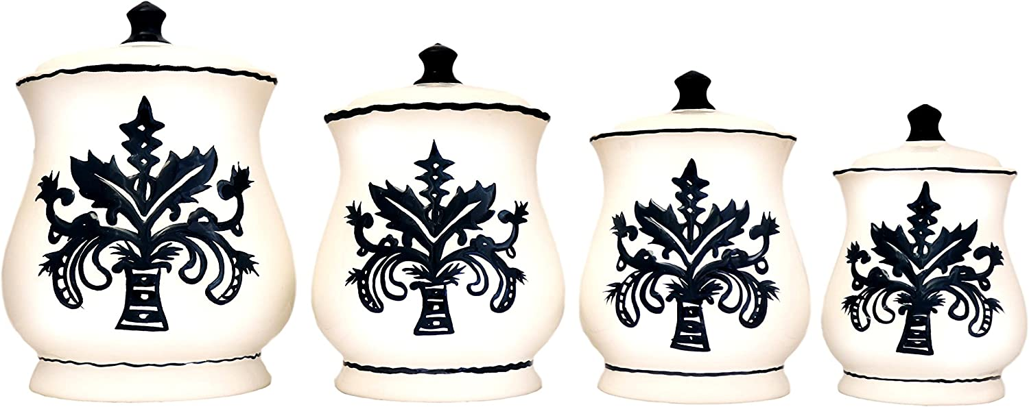 Tuscany Fleur De Lis, Just Black & White Ceramic 4-piece canister set