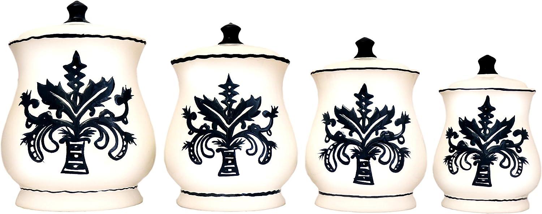Tuscany Fleur De Lis, Just Black & White Ceramic 4-piece canister set