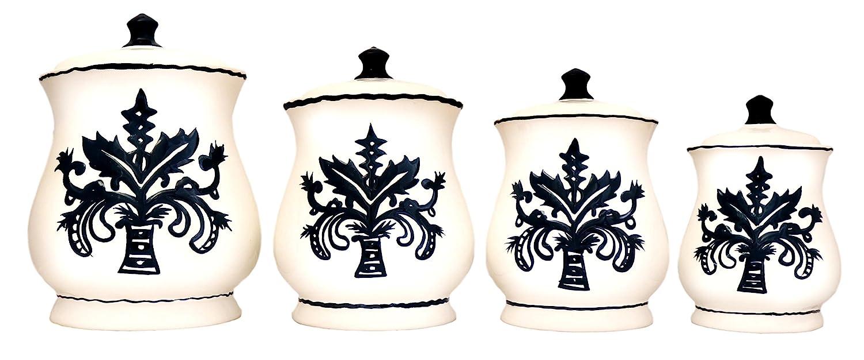 "Tuscany Fleur De Lis, Just Black & White Ceramic 4-piece canister set 14-1/2""H, 87301 by ACK"